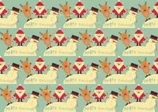 Christmas Seamless Background. Christmas Seamless Vintage background. Signs of Christmas: Santa Claus, Snowman, Deer on retro background. illustration Stock Photography