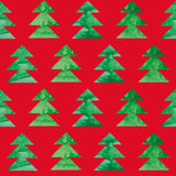 Christmas seamless background with watercolor tree Stock Images