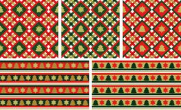 Christmas seamless backgrounds set. / wallpapers or wrapping paper or background / vector Stock Image