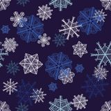 Christmas seamless. Beautiful winter sketch snowflakes seamless pattern. Eps 10 vector background for your Christmas design Stock Photo