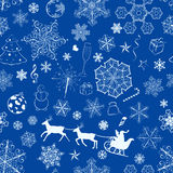 Christmas seamless blue pattern Stock Images