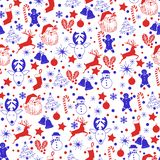 Christmas seamless blue and red pattern on white background with deer, snowman, candy, sock, star, snowflake holiday icons, New royalty free illustration