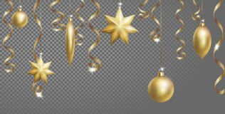 Christmas Seamless Border Banner Template. Ball Fir Toys star golden silver sparkle serpentine streamer. New Year tree. Decoration gold transparent grid 3d Royalty Free Stock Images