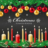 Christmas seamless border. With candles and christmas tree toys Stock Photography