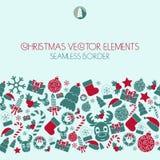 Christmas seamless border. Christmas icons. Typography.  Royalty Free Stock Image