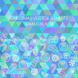 Christmas seamless border. Multicolored triangular background.  Stock Images