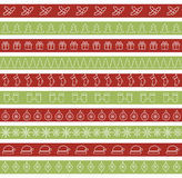 Christmas seamless borders for holiday design. Line christmas trees, snowflakes, mittens, gifts Royalty Free Stock Photography