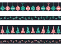 Christmas seamless borders set. Set of seamless borders with Christmas baubles, trees and snowflakes for winter holidays design Stock Images