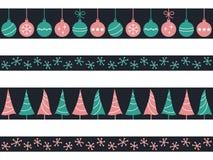 Christmas seamless borders set Stock Images