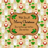 Christmas seamless card with characters, beige Royalty Free Stock Photos