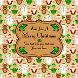 Christmas seamless card with characters, beige Stock Photos