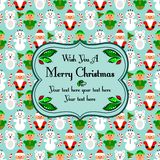 Christmas seamless card with characters, blue Royalty Free Stock Photo