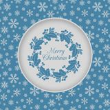 Christmas seamless card with holly wreath, blue Royalty Free Stock Image