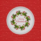 Christmas seamless card with holly wreath, red Royalty Free Stock Photography