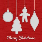 Christmas seamless card with toys, red Royalty Free Stock Images