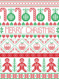 Christmas seamless card with  winter pattern including gingerbread man, candy cane, bauble, Christmas Pudding,  in  stitch Stock Photo