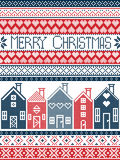 Christmas seamless card with  winter pattern including Swedish houses, decorative ornaments, snow, snowflakes  in cross stitch Royalty Free Stock Photo