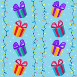 Christmas seamless cartoon pattern with christmas lights, gifts and snow. Colorful winter seamless background. New year vector illustration Royalty Free Illustration