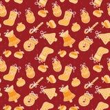 Christmas seamless claret vector background. Christmas  vector background with apples, bells, balls Vector Illustration