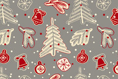 Christmas seamless cute pattern. Stock Photos