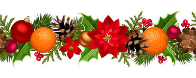 Christmas seamless garland with balls, holly, poinsettia, cones and oranges. Vector illustration. Vector Christmas horizontal seamless background with fir-tree Royalty Free Stock Photos