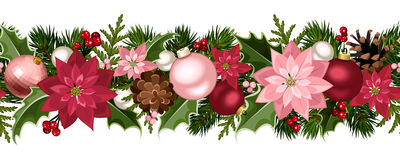 Christmas seamless garland with balls, holly, poinsettia and cones. Vector illustration. Vector Christmas horizontal seamless background with fir-tree branches Stock Photos