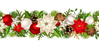 Christmas seamless garland with red and white decorations. Vector illustration. Vector Christmas horizontal seamless garland with fir-tree branches, red and Stock Photography