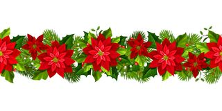 Free Christmas Seamless Garland With Red Poinsettia Flowers. Vector Illustration. Stock Photos - 105223063