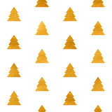 Christmas seamless geometric gold textured pattern. Christmas or New year seamless geometric gold textured pattern of stylized trees. Design element for festive Stock Images