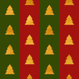 Christmas seamless geometric gold textured pattern. Christmas or New year seamless geometric gold textured pattern of stylized trees on green and red stripes Royalty Free Stock Photography