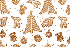 Christmas seamless gingerbread pattern. Royalty Free Stock Photography