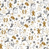 Christmas seamless gray and gold pattern on white background with deer, snowman, candy, sock, star, snowflake holiday icons, New stock photo