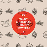 Christmas seamless hand-drawn pattern Stock Photography