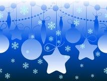 Christmas seamless horizontal blue pattern Stock Photos