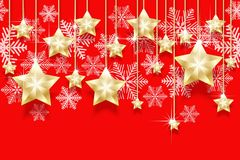 Christmas seamless horizontal pattern with hanging gold stars and snowflakes. Bright New Years border for design. Vector illustration Stock Image
