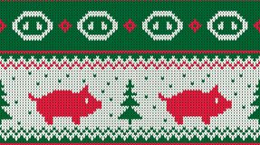 Christmas seamless knitted pattern with piglet and the fir christmas trees. vector illustration