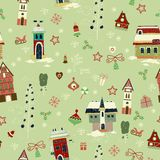 Christmas seamless with little town in winter Stock Image