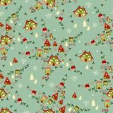 Christmas seamless with little town in winter Royalty Free Stock Photos