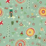 Christmas seamless with little town in winter Royalty Free Stock Images
