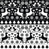 Christmas seamless monochrome pattern with reindeer - folk style. Retro style black and white Xmas or winter pattern - 2 sets Royalty Free Stock Images