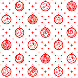 Christmas seamless ornament. Seamless pattern. Christmas ornament with xmas balls and dotted rhombuses. Holiday background Royalty Free Stock Images