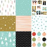 Christmas seamless patten set Stock Images