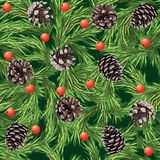 Christmas seamless pattern. With pine cones Royalty Free Stock Image
