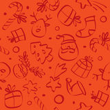 Christmas seamless pattern. Christmas  seamless pattern background, with funny outline drawings Royalty Free Stock Images
