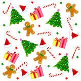 Christmas seamless pattern. With santa claus face, candy cane, stars,  gingerbread, gifts and decorative christmas tree Royalty Free Stock Photo