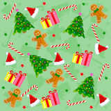 Christmas seamless pattern. With santa claus face, candy cane, stars, gingerbread gifts and colorful christmas trees on green background royalty free illustration