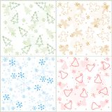 Christmas seamless pattern. Collection of christmas seamless backgrounds including christmas tree , santa hat , snow and gingerbread man specially for x mas Stock Photo