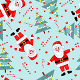 Christmas seamless pattern. Santa, fur-three and candy. Vector background Royalty Free Stock Photos