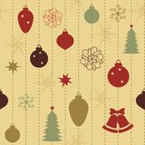 Christmas seamless pattern. With balls and fur-tree royalty free illustration