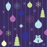 Christmas seamless pattern. With balls and fur-tree stock illustration